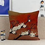 vintage cap Decorative Cartoon Sleepy Bunny Square Throw Pillow Cover Cotton Linen Blend Pillowcase Car Beds Couch Cushion Cover Bunnies Sleeping on Tree