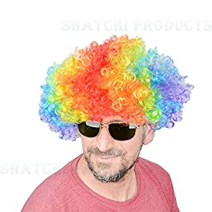 Shatchi 11507-AFRO-WIG-MIXCOLOUR Peluca afro multicolor para disfraz, accesorio de disfraces, payaso de discoteca, unisex 70S, multi