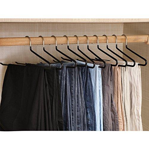 comprare on line Songmics 20 Pezzi - Nero Metallo Pantaloni Gancio Grucce in Acciaio Ricoperto antiscivolo - Cromato CRI004-20 prezzo