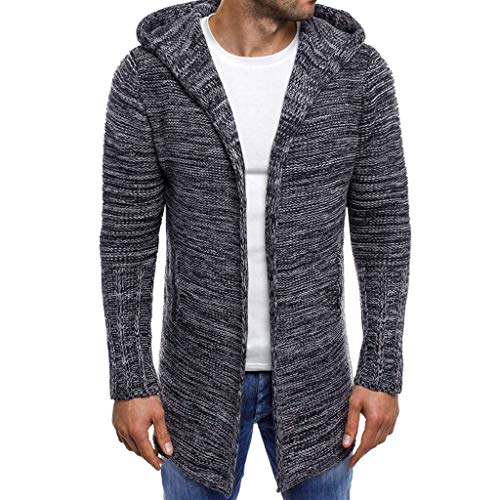 Coat Herren,SANFASHION Mäntel Männer Hooded Solid Knit Trenchcoat Jacke Strickjacke Langarm Outwear Bluse -