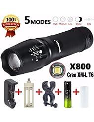 Lampes torches, Tonsee 5000 Lumen G700 LED Zoom lampe de poche X800 Lumitact militaire torche Chargeur de batterie