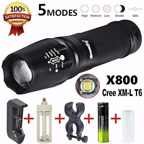 Fortan 5000 Lumen G700 LED dello zoom della torcia elettrica X800 Militare Lumitact torcia caricabatteria
