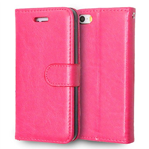 iPhone Case Cover Premium PU Leather Case Solid Color Wallet Stand Housse en Silicone pour iPhone 5S 5 SE ( Color : Blue , Size : IPhone 5S SE ) Rose