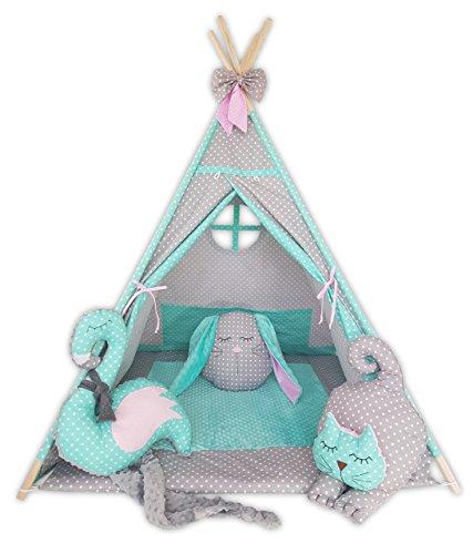Kinder Teepee Tipi Set für Kinder Spielzeug drinnen draußen Spielzelt Zelt Tipi-Set Indianer Indianertipi mit Fenster usw. Tipi mit und ohne Zubehör erhältlich (Tipi mit Elementen, Minte Katze) -