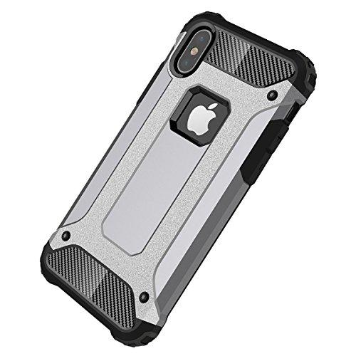 iPhone X Hülle, HICASER Hybrid Dual Layer Rugged Heavy Duty Defender Case [Shock Proof] Drop Resistance TPU +PC Handytasche Schutzhülle für iPhone X Gold Grau