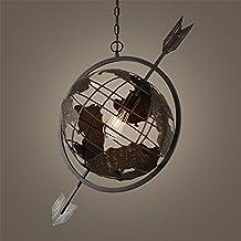 ShengYe Lámpara colgante de techo estilo rústico La Oficina del café luces, candelabros de hierro forjado mundo flecha