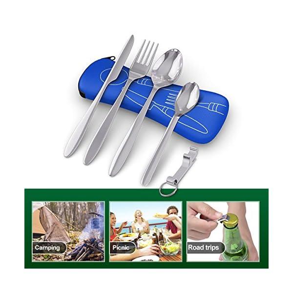 BRAMBLE! 5 Premium Acero Inoxidable Set de Cubiertos Portátiles para Llevar, Viajes, Trabajo, Acampada/Camping, Picnic - Cuchara Tenedor Cucharita Cuchillo Abridor de Botellas| Estuche de Neopreno 2