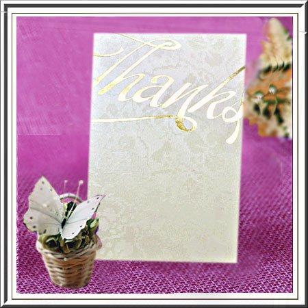 Arazzo avorio pizzo grazie Thank You Cards wedding Gold Hot goffrate x 10pezzi (THK7)