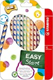 STABILO EASYcolors Wallet of 12 for left-handers with ergonomic sharpener -Ergonomic coloured pencil