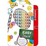 Ergonomischer Buntstift - STABILO EASYcolors - 12er Pack mit Spitzer - mit 12 verschiedenen Farben - für Linkshänder