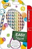 Stabilo Easy Color Etui de 12 crayons de couleur ergonomique assortis spécial gaucher Bois certifié FSC