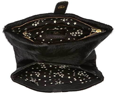 Fab by Fabienne - New york clutch, Frizione da Donna Nero(Black hairy)