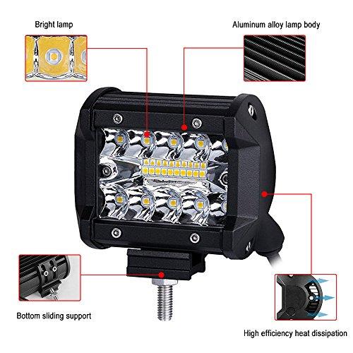 2 x Projecteur Phare de Travail LED 60W 6000K IP67 Mookis LED Chantier Lampe de Travail pour Camions SUV,Chariots élévateurs, Buggy, Véhicules de construction, Voitures, Navires, Motos