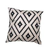 Internet canapé lit Home Café Decor taie d'oreiller Carré housse de coussin Toile de lin Invisible fermeture à glissière 45cm*45cm (Noir)