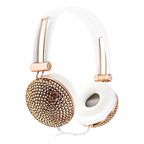 LifePlus Noise Cancelling Kopfhörer, künstlicher Kristall Strass Bling über Ohr Kopfhörer Super bequeme leichte Diamante Headsets (Rosegold)