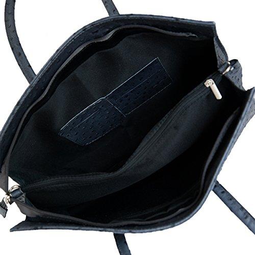 Leder Damen Business- / Akten-/ Laptoptasche mit Schulterriemen Italy Mod.2026-p Grau_Straussen