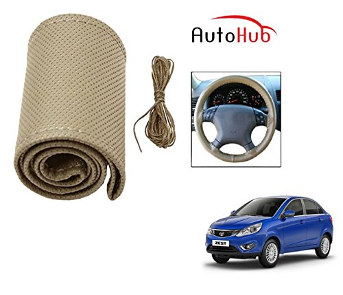 Auto Hub Premium Quality Car Steering Wheel Cover For Tata Zest - Beige  available at amazon for Rs.199