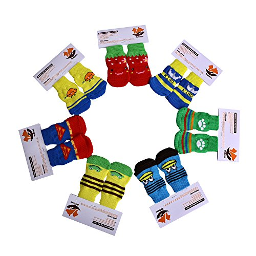 PetSutra Anti Slip Dog Socks – Breathable Comfortable Shoe Boots with Rubber Reinforcement [Multiple Design & Color]
