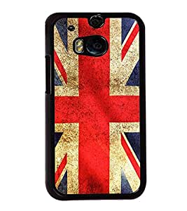 Fuson Premium 2D Back Case Cover flag design With Brown Background Degined For HTC One M8::HTC M8