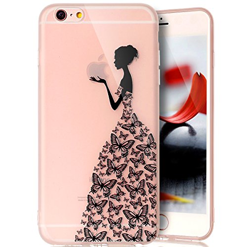 Coque Housse Etui pour iPhone 6S Plus/6 Plus, iPhone 6S Plus/6 Plus Coque en Silicone Ultra Mince TPU Silicone Crystal Clear Housse Etui Slim Case Soft Gel Cover Skin, Ukayfe Etui de Protection Cas en fille papillon