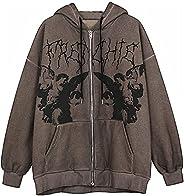 Women Halloween Skeleton Print Oversized Y2K Zip Up Sweatshirt Hoodies e Girl Harajuku Aesthetic Jackets Coat