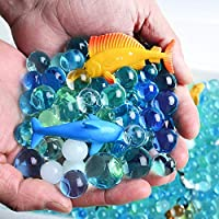 AINOLWAY 24PCS Mini Sea Animal Toys with Ocean Color Beads - Realistic Sea Life Figures with 5 Colors Sensory Beads for Kids Bath Water Toy Set