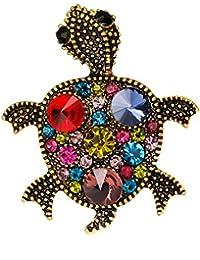 Sanwood Multicolore Strass Broche Bouquet de tortue fête Broche Robe Écharpe accessoire Cadeau