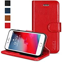 iPhone 8 Case, iPhone 7 Case, Labato Handmade Leather Case Magnetic Flip Wallet Sleeve Stand Case for Apple iPhone 8 iPhone 7 Protective Case Cover Hot Pink / Fushia Lbt-IP7-01Z33