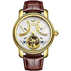 GUANQIN Analog Automatic Self-winding Mechanical Sports Watch Men's Popular Brand Stainless Steel and Leather Male Wrist Watch Skeleton Calendar Luminous Waterproof Fashionable Unique Design