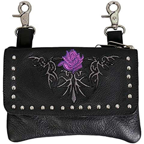 Hot Leathers, PINK FLOWER CLIP POUCH PURSE with Studs Magnetic Snap Closure - 8