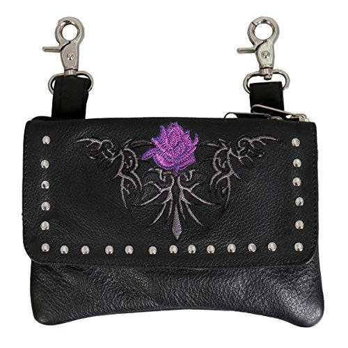 PINK FLOWER CLIP POUCH PURSE with Studs Magnetic Snap Closure
