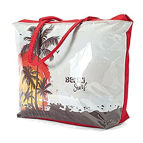Large Waterproof Beach Tote Bag with Palm Tree Design BZ4340 Light Blue