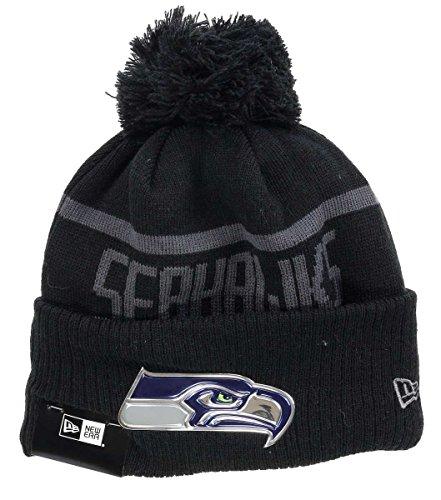 New Era NFL Blk Coll Knit Bommelmütze Seattle Seahawks Schwarz, Size:ONE Size -
