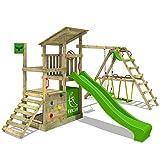 FATMOOSE Kletterturm FruityForest Fun XXL Klettergerüst Spielturm Beach-House mit Schaukel Sandkasten Rutsche und Surfanbau auf 3 Ebenen