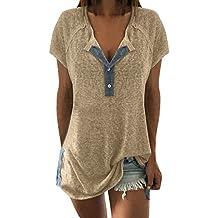 Auifor Las Mujeres Sueltan el Remiendo botón Informal de Manga Corta Blusa Camiseta Tops