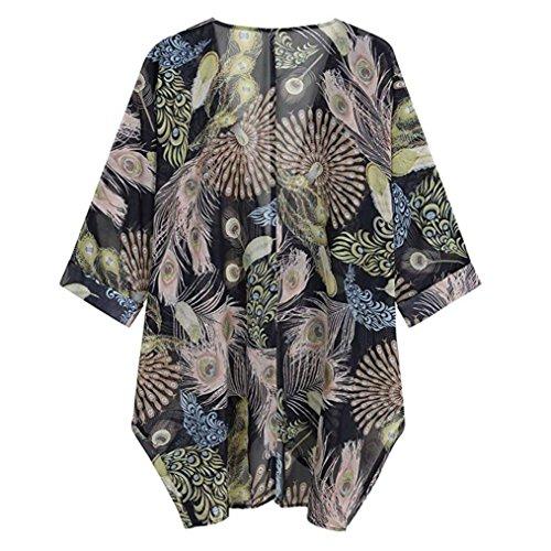 Lazzboy Womens Plant Print Chiffon Long Sleeve Loose Blouse Tops Kimono Cardigan