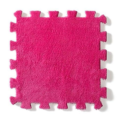 Iuhan 30x 30cm Salon Chambre à coucher enfant Souple Patchwork Tapis Splice Tapis de bébé rose vif