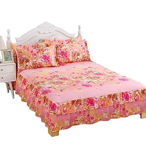 KEYREN Bettwäschesatz Bett Rock Blatt kissenbezüge 3 Teile/Satz rüschen plissiert atmungsaktiv bettwäschesatz(Pillowcase:48 * 74cm*2)