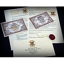 Harry Potter Carta de aceptación a Hogwarts con un lacre hecho a mano, billete de HogwartsExpress –billete de Knight Bus–ideal para los fans de Hogwarts en su vida