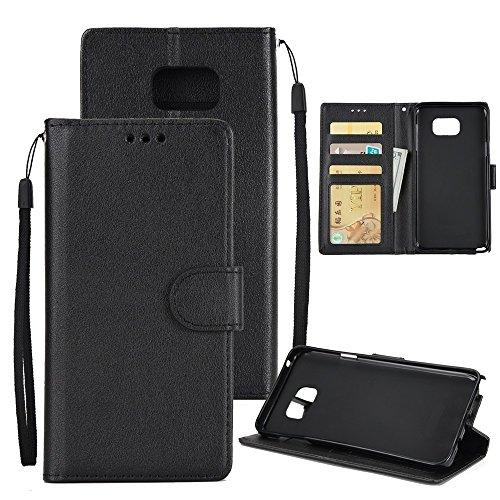 Klassische Premiu PU Ledertasche, Horizontale Flip Stand Case Cover mit Cash & Card Slots & Lanyard & Soft TPU Interio Rückseite für Samsung Galaxy Note 5 ( Color : Red ) Black