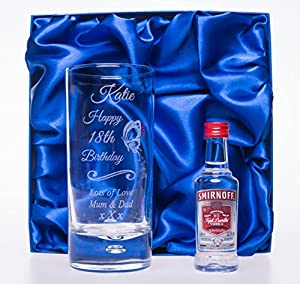 Engraved/Personalised *NEW DESIGN* BIRTHDAY BUTTERFLY HighBall Glass & Smirnoff Vodka in Silk Gift Box For 18th/21st/30th/40th/50th/60th/65th/70th