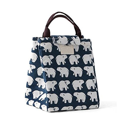 Meijunter Cotton Linen Portable Insulated Termico Refrigeratore Lunch Tote Box Picnic Conservazione Borsa Per Scuola Work All'aperto Navy