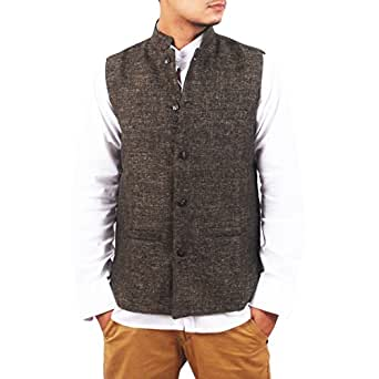 NEW LOOKS Brown Jute Nehru Jacket