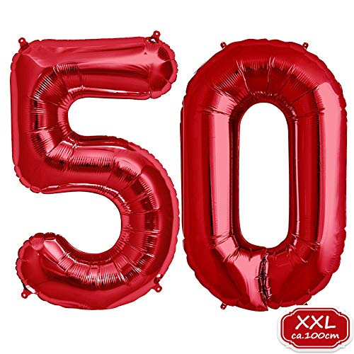 FUNXGO Folienballon Zahl in Rot- XXL 40