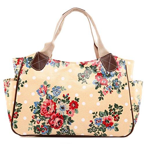 Miss Lulu femmes filles fleurs Chouette à Pois en toile cirée Motif chien Scottie Sac fourre-tout de voyage sac à main - Flower Beige