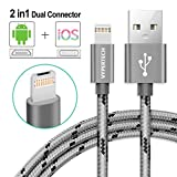2 in 1 iPhone Lightning and Micro USB Braided Cable High Speed Charger and Data Sync for iPhone and Android devices. NO ADAPTER REQUIRED! New 2018 Product - One Cable that Works in Two Different Ports