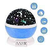lederTEK, LED Baby Nachtlicht mit USB Kabel Batteriebetrieben Sternhimmel Sternenhimmel 4 LED 360 Grad ( Blau)