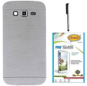 Tidel Durable Aluminium Brushed Metallic Back Cover For Samsung Galaxy J5 (Silver) With 2.5D Tempered Glass & Stylus
