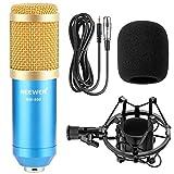 Neewer® NW-800 Microphone Micro Condensateur Professionel Enregistrement Studio Radio Kit comprenant (1) NW-800 Microphone à Condensateur + (1) Support de Microphone + (1) Bouchon Anti-Vent en Mousse + (1) Câble d\'alimentation pour Microphone (Bleu )