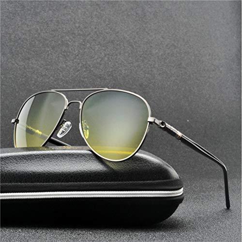 SYQA Männer polarisierte Nachtsicht-Sonnenbrille für Männer Schwarze Nacht, die Pilot Sun Glasses Goggles Square Male Yellow Lens fährt,C3